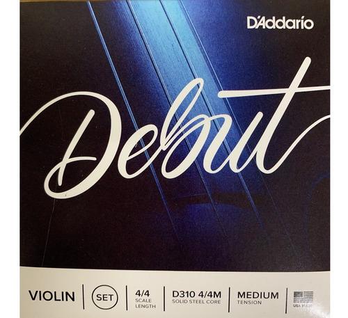 daddario debut violin medium 4/4 encordado d310 4/4m