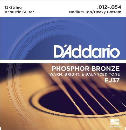 d'addario ej37 cuerdas de guitarra acústica de fósforo, 12