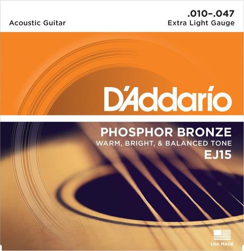 daddario phosphor bronze ej15 encordado para acústica .010
