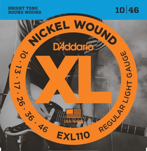 daddario xl nickel exl110 encordado .010 para eléctrica