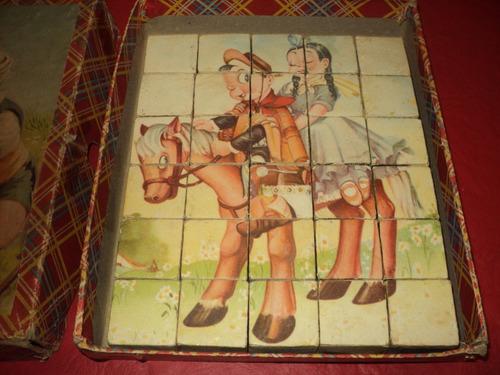 dado cubo madera antiguo puzzle rompecabezas