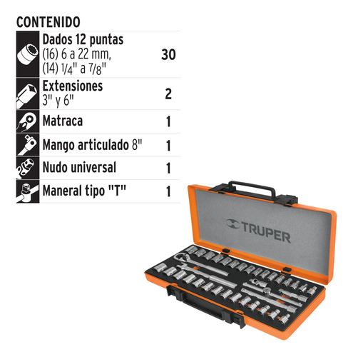 dado truper jd-3/8x36mp juego de 36 piezas mm cuadro 3/8