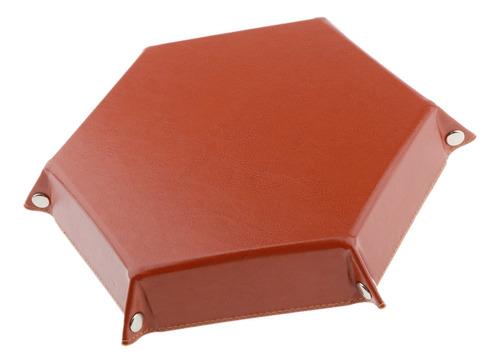 dados plegables bandeja hexagonal cuero de la pu dados