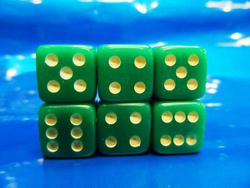 dados verde de  6 lados kit com 6 peças 16mm novo