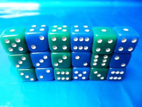 dados verde e azul, de 6 lados, kit com 18 peças 14mm