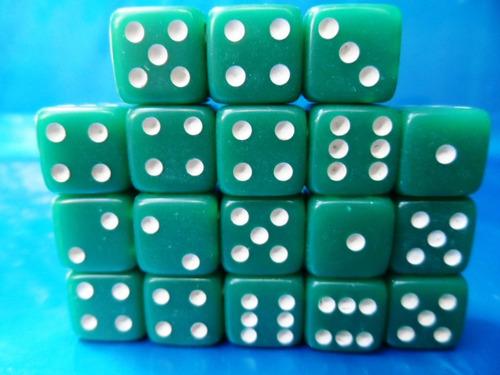 dados verdes, de 6 lados, kit com 18 peças 14mm