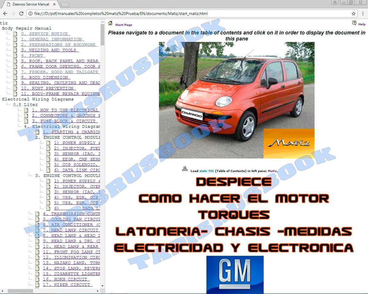 Daewoo Matiz Manuales Completos Electricidad Sensores Motor Bs 60 Tico Wiring Diagram Cargando Zoom