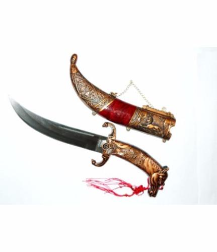 daga, cimitarra, 35cm, mango terminación cabeza de caballo