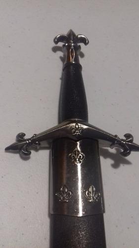 daga francesa medieval flor de lis con funda rigida 37 cm