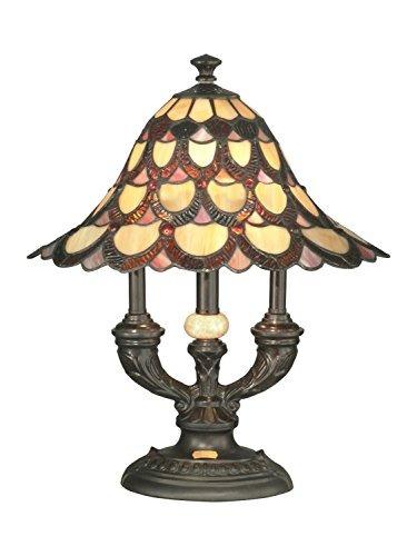 dale tiffany lámpara de mesa de pavo real