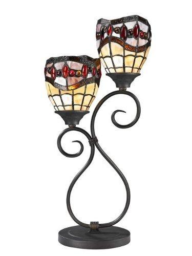 dale tiffany tt12426 lámpara de mesa fall river, bronce...
