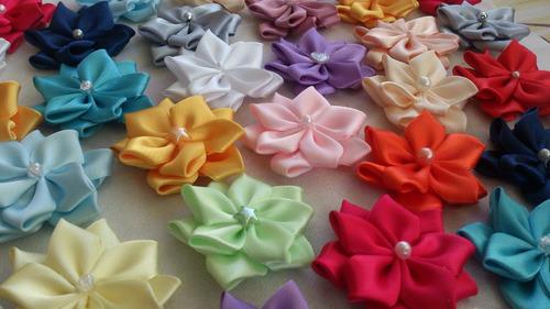 dalia, flores de cinta, lazos, cintillos, apliques! tocados!