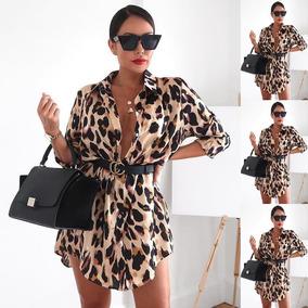 5f08cee0d Dama Falda Camisa Vintage Estampada Leopardo Blusa Sexy