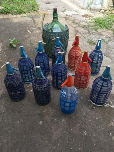 dama juana 10lts y sifones de vidrio para soda antiguos!!
