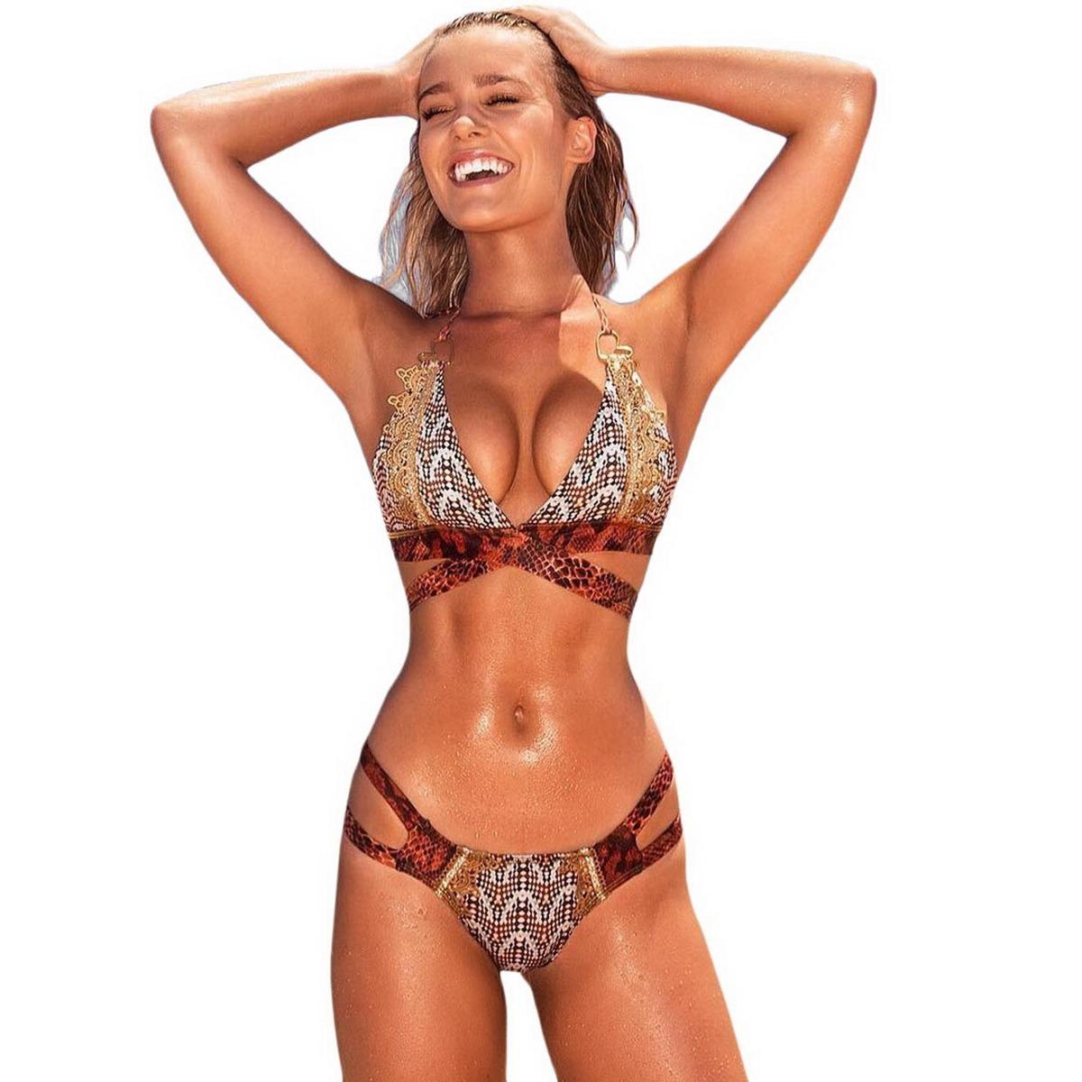 Dama Up Cruzado Bikini De Push Playa Impresión Baño Trajes uPiOXZk