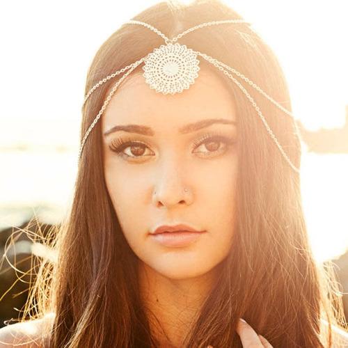 dança ventre-tribal-cigana- boho headband prata