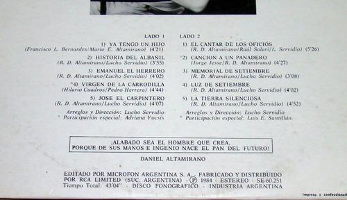 daniel altamirano el cantar de los oficios lp argentino