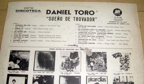 daniel toro cantor y trovador sueño de trovador lp argentino