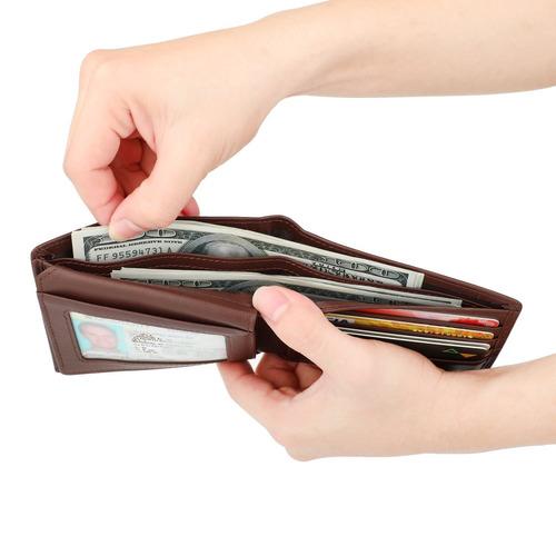 dante rfid bloqueo elegante billetera de cuero para hombres,
