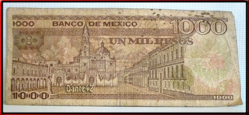 dante42 billete mexico 1000 pesos 1985