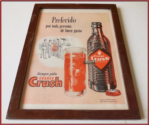 dante42 cuadro publicidad antigua gaseosa orange crush 1956