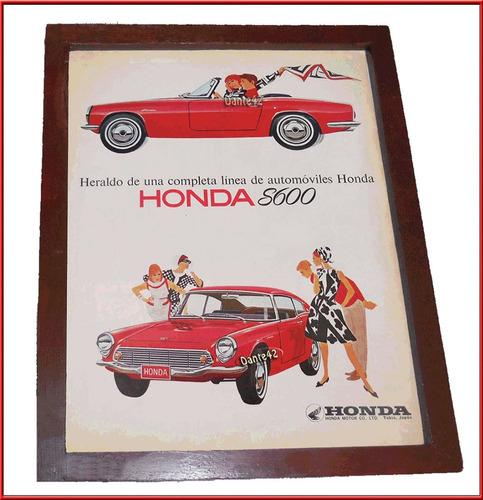 dante42 cuadro publicidad antigua retro auto honda 1965