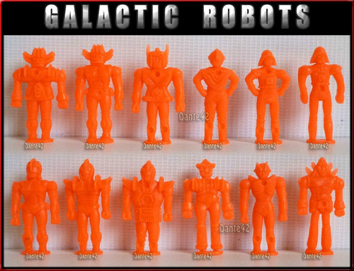 dante42 pack 12 robots galactico muñecos miniaturas naranjad