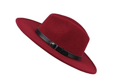 Dantiya Sombrero De Panamá Con Cinturón De Fedora De Lana ... f7a45d3dd72