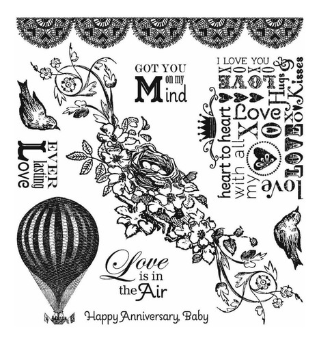 darcie's cling mounted rubber stamps-love is in the air