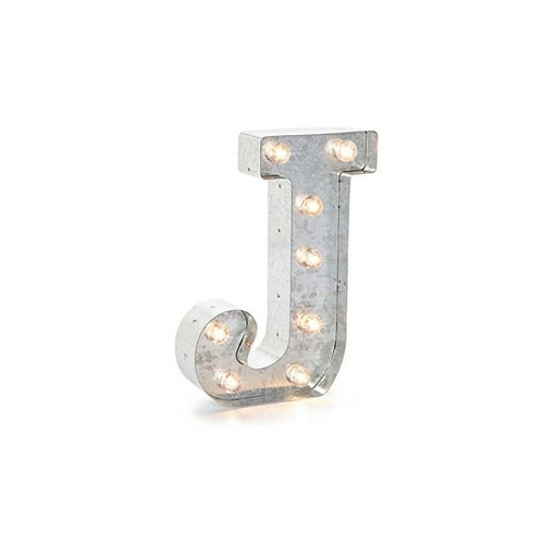 darice silver metal marquee letter 9.875-j