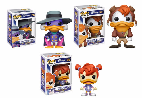 darkwing duck  set 3 funkos pop, launchpad mcquack, gosalin