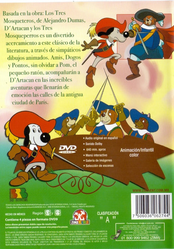 dartacan y los tres mosqueperros español latino completa dvd