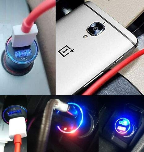 dash car charger for oneplus 6t/6/5t/5/3t/3/7/7 pro, dual