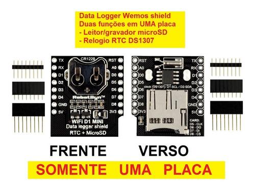data logger shield leitor micro sd rtc ds1307 pra wemos d1