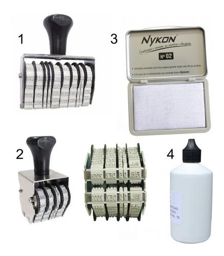 datador manual de validade, kit com 2 carimbos + tinta