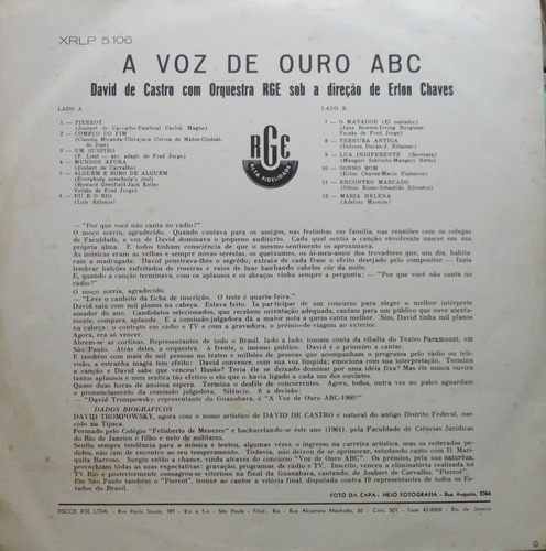 david de castro voz ouro  erlon chaves orquestra lp rge 1961