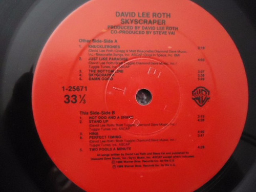 david lee roth / skyscraper vinyl lp acetato