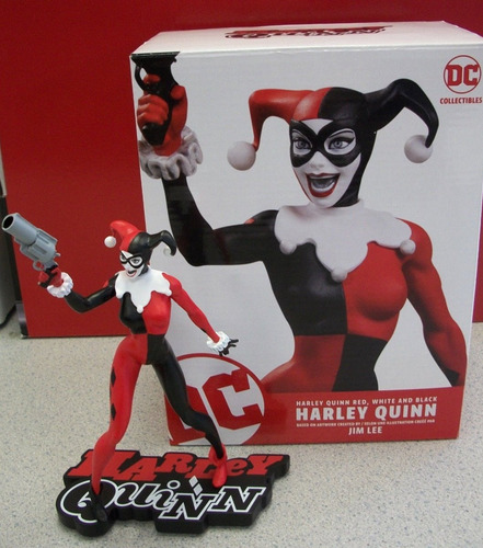 dc collectibles harley quinn red white e black jim lee