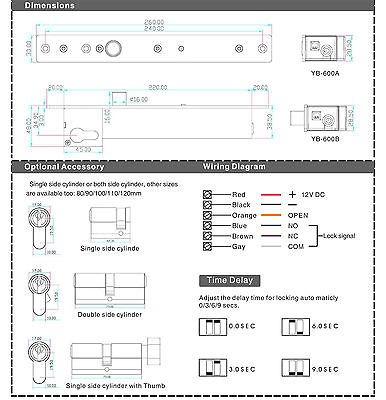 dc12v eléctrica perno cerradura abierta clave fallar seguro