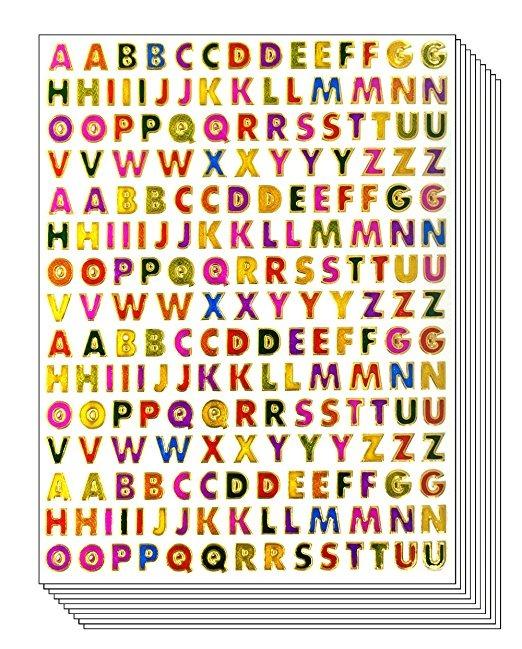 De A A Z Pegatinas, 10 Hojas Coloridas Letras Del Alfabeto A ...