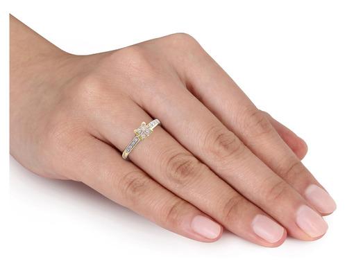 de corte princesa anillo de compromiso de diamantes 1/4 cara
