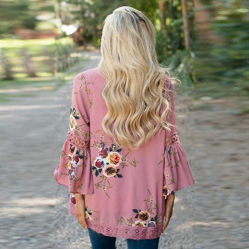 de las mujeres floral suelto rebeca encaje patchwork cubiert