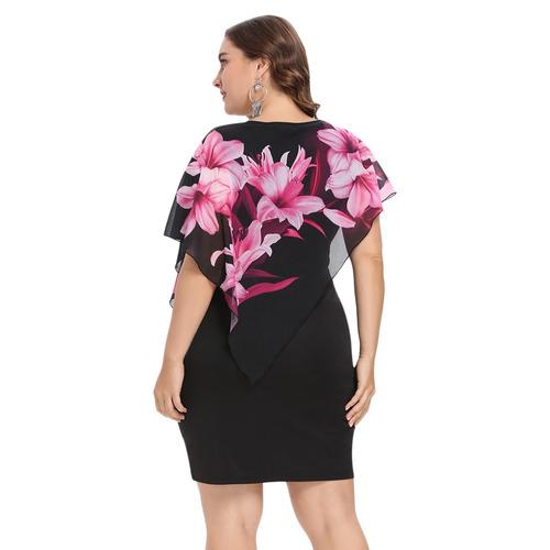 6a35ed64ca De Moda Ronda Collar Floral Capas Mujeres Bodycon Vestido -   423.31 ...