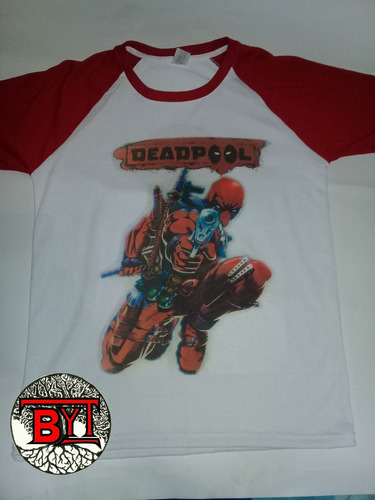deadpool camiseta mangas rojas