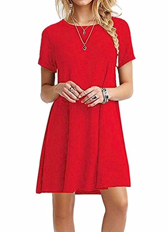 8cff9d3e4 Dearcase Mujer Manga Corta Camiseta Vestido Rojo -   995.50 en ...