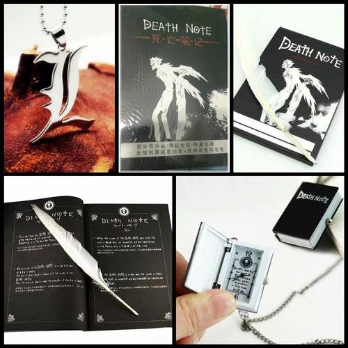 death note combo x 3 libreta + collar l + reloj originales