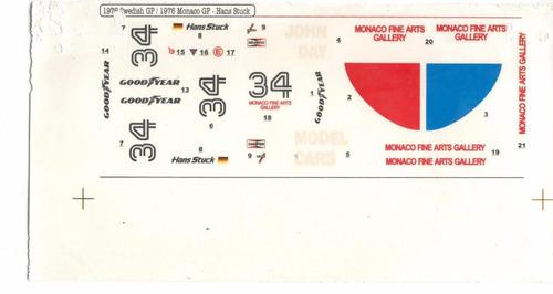 decalque escala 1/20 - 1976 gp suiça e gp monaco hans stuck
