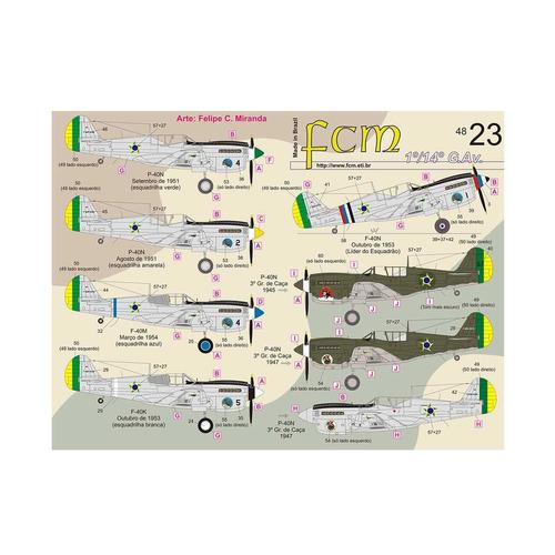 decalque p-40n 1°/14° g.av. fcm48023 1/48 fcm decals
