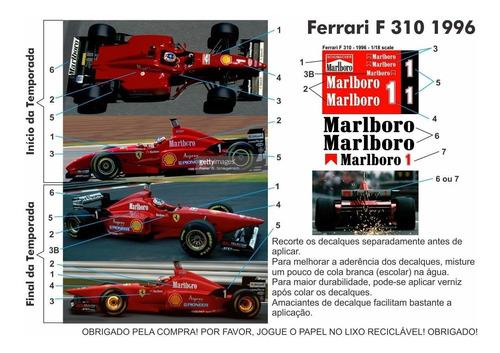 decalques para ferrari f310 1996 - escala 1/18 ou 1/20