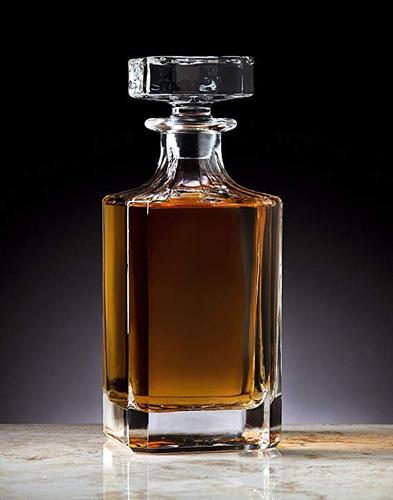 decantador de cristal diseño liso cuadrado whisky licores lp
